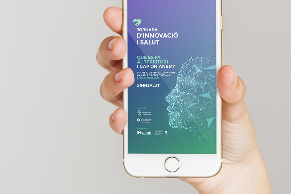 Imatge gràfica per a jornada d'innovació i salut a Manresa