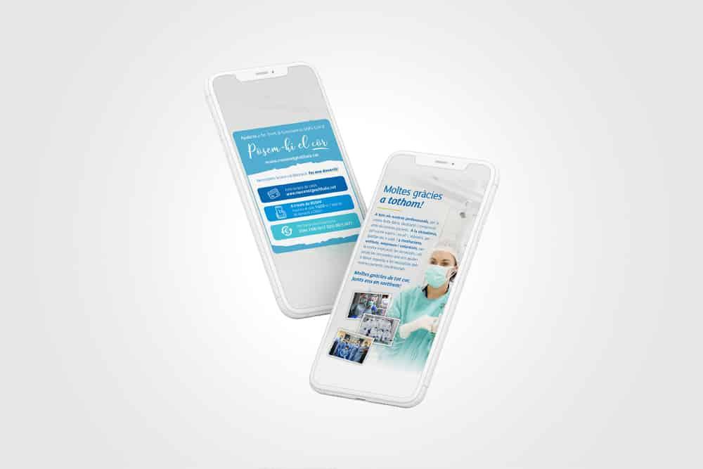 Dos telèfons amb la campanya de mecenatge per Althaia en format Instagram Stories